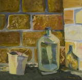 Still life with a bottle and bucket